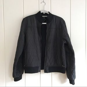 Prana black quilted cropped bomber coat